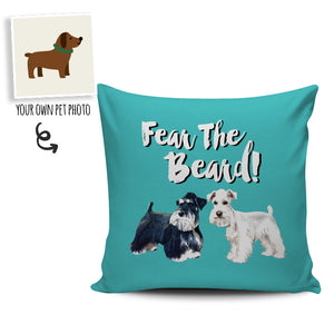 "Custom ""Fear The Beard"" Pillows (Background color can change to anything)"