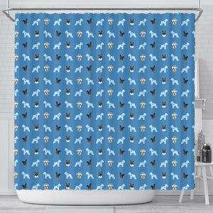 Custom Shower Curtain - Pet Faces Pattern (Background Color can be anything)