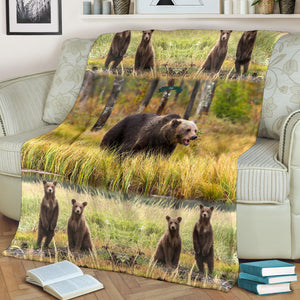 Custom Grizzly Bear Premium Blanket - Just add your name on this blanket