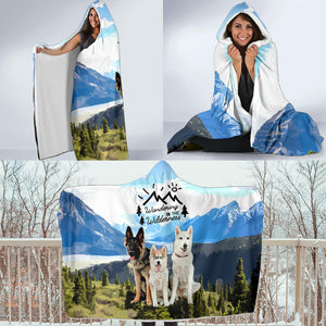 "The ""Wolves"" Wandering in The Wilderness Hooded Blanket"