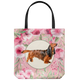 Long Haired Dachshund - Roses Garden Tote Bag