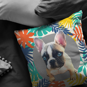 French Bulldog Pillow - Colourful Leaves