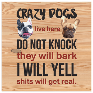 French Bulldog - Crazy Dogs Live Here Square Canvas