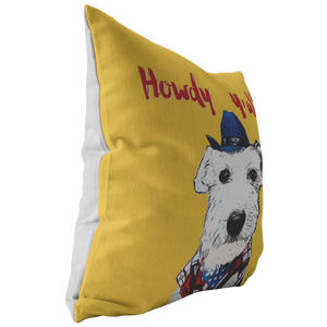 Howdy Y'all White Schnauzer Cowboy Yellow Pillow