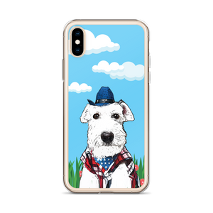 White Miniature Schnauzer Cowboy Phone Case - Blue Sky Red Flower