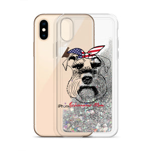 Phone Case - Schnauzer Mom Patriotic Bandana Liquid Glitter Phone Case