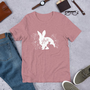 Mama Bunny Baby Bunny LOVE Lily Flowers White - Short-Sleeve Unisex T-Shirt