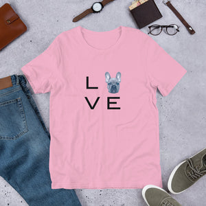 French Bulldog L.O.V.E Short-Sleeve Unisex T-Shirt