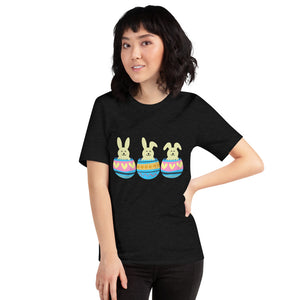 Three Easter Bunnies in Colorful Eggs - Short-Sleeve Unisex T-Shirt