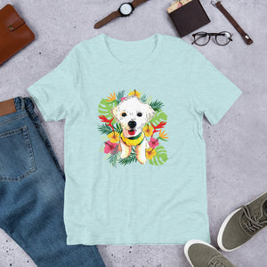 Cute Maltese Tropical Design Short-Sleeve Unisex T-Shirt