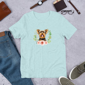 Yorkshire Terrier Floral Wreath Short-Sleeve Unisex T-Shirt