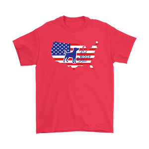 Patriotic Jack Russell Red Woof Blue Unisex T-Shirt - 4th July Independence Day - American FLag