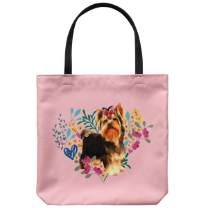 Yorkshire Terrier - Heart Shape Flower - Tote Bag