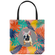 Cutie French Bulldog - Colourful Leaves Tote Bag