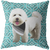 White Poodle Geometric Style 1 Pillow