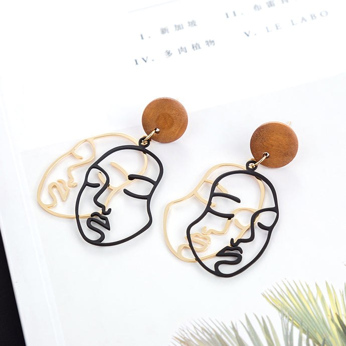 Double Layered Face Earrings