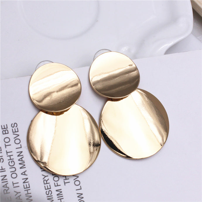 Gold Layered Disc Earrings