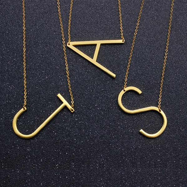 Tilted Initial Necklace (A - S)