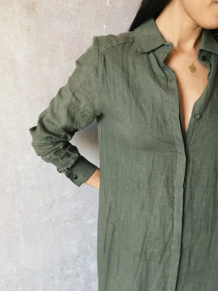 Camisa dress dusty olive