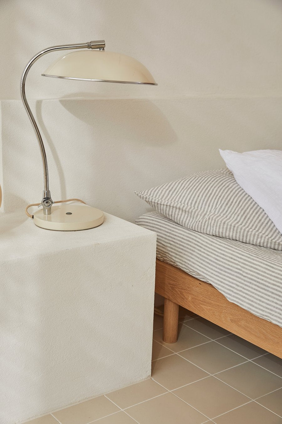linen sheets in grey stripe