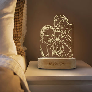 Customized 3D USB Wooden Base DIY Night Lamp