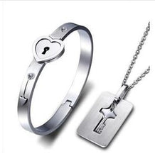 Load image into Gallery viewer, Love Heart Lock Bracelets Bangles Key Pendant Necklace