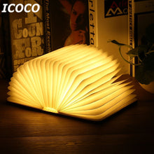 Load image into Gallery viewer, Portable USB Rechargeable LED Magnetic Foldable Wooden Book Lamp Night Light