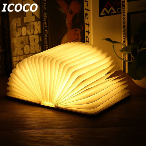 Portable USB Rechargeable LED Magnetic Foldable Wooden Book Lamp Night Light