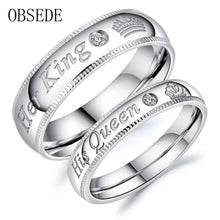 Load image into Gallery viewer, Fashion Her King His Queen Ring Silver Stainless Steel CZ Crystal Couple Ring