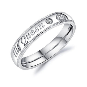 Fashion Her King His Queen Ring Silver Stainless Steel CZ Crystal Couple Ring
