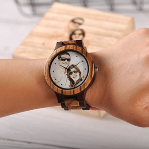 Custom LOGO Printing  Men Watch Unique Bamboo Wood Wristwatch