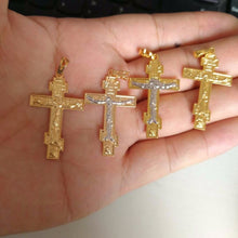Load image into Gallery viewer, Two Tone Cross Pendant Necklace