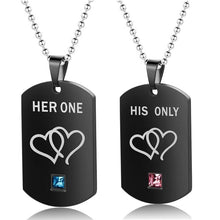 Load image into Gallery viewer, 1 Pair Necklaces & Pendants Her King and His Queen Black Top Necklace Stainless Steel