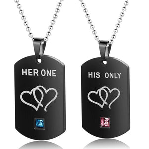 1 Pair Necklaces & Pendants Her King and His Queen Black Top Necklace Stainless Steel