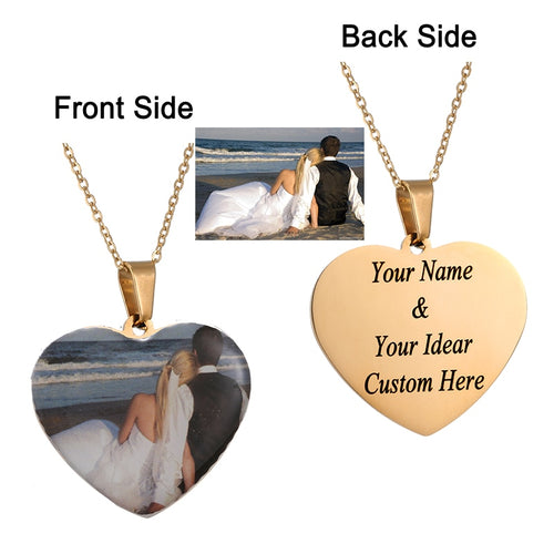 Heart Custom Photo Initial Letter  Necklace Personalized
