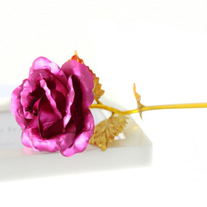 Foil Plated Rose Gold Rose Wedding Decoration Flower Valentine's Day Gift lover's Rose artificial flower Red Pink Purple Blue