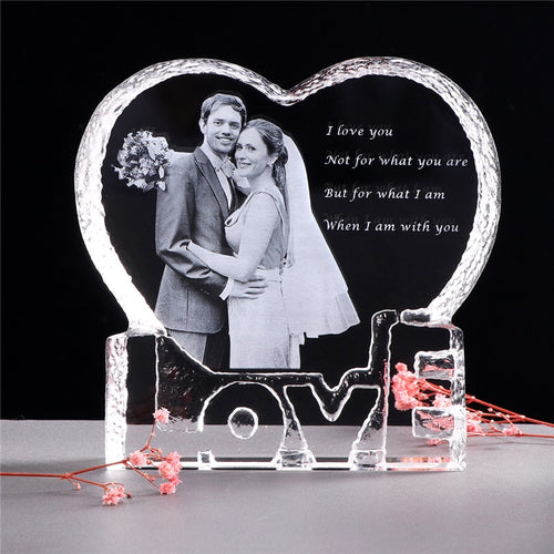 Heart Shape Custom  Crystal Photo Frame