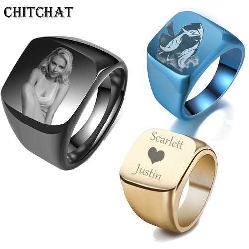Personalized Customized Engrave Name Photo Men's Signet Rings