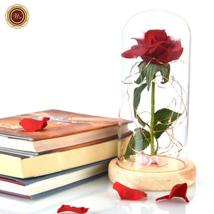 Beauty and the Beast Red Rose in a Glass Dome with LED Light