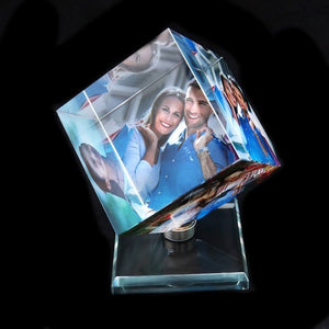Rotating Square Customized  Crystal Photo Frame