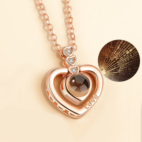 Lovers' necklaces I love you in 100 language projection necklace