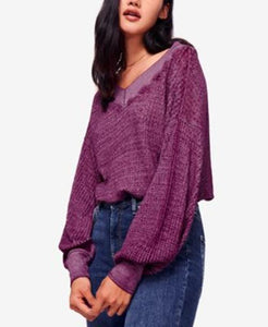 Free People Womens South Side Thermal Shirt Purple sz M Damaged NWT