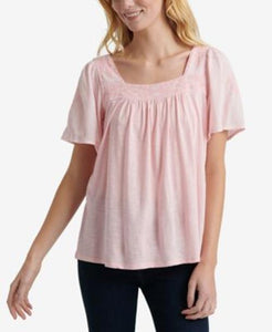 Lucky Brand Womens Embroidered Square Neck Top sz M Pink NWT $60