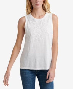 Lucky Brand Womens Applique Tank Top sz M White NWT $49.50