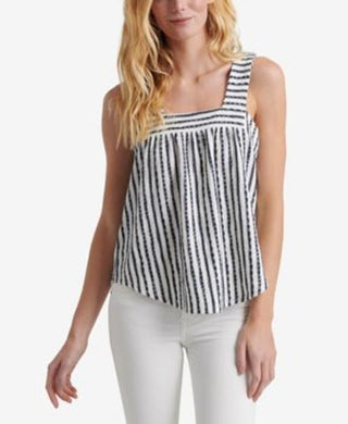 Lucky Brand Womens Square Neck Tank Top sz L Blue White Woven Stripe NWT $50
