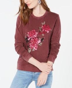 Lucky Brand Women Lucky Floral Pullover Sweatshirt sz XL Purple Wine Tasting NWT