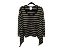 Load image into Gallery viewer, Romeo & Juliet Couture Shirt Black Gold Metallic Stripe Box Fit Made in USA sz L