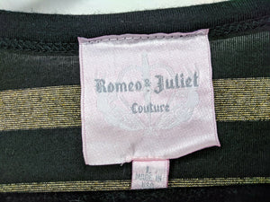 Romeo & Juliet Couture Shirt Black Gold Metallic Stripe Box Fit Made in USA sz L