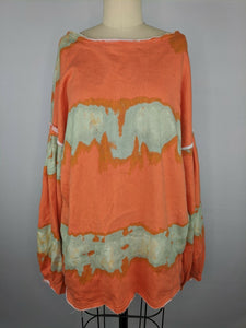 Free People Women Feels Right Pullover S Tulip Coralina Orange Green Tie Dye NWT