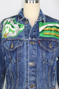 Vintage Levi's Denim Jacket Reclaimed With Hermes Ferronnerie Silk Scarf